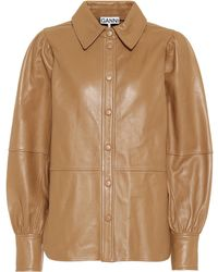 Ganni Leather Blouse - Brown