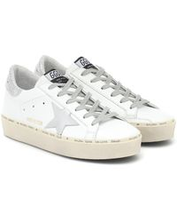 Golden Goose Deluxe Brand White And Silver Hi Star Sneakers