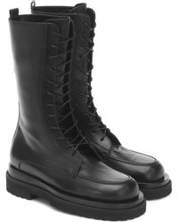Magda Butrym Leather Combat Ankle Boots - Black