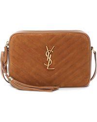 Saint Laurent Lou Medium Ysl-logo Quilted-suede Cross-body Bag - Brown