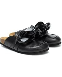 JW Anderson Chain-trimmed Leather Slippers - Black
