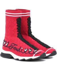 Fendi - Embroidered High-top Sneakers - Lyst