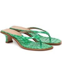 Sies Marjan Alix Croc-effect Leather Sandals - Green