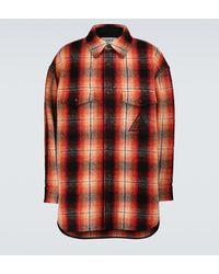 Lanvin Camisa de lana a cuadros - Naranja