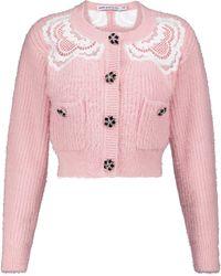 Self-Portrait Embellished Lace-trimmed Cardigan - Pink
