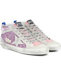 Golden Goose Verzierte Sneakers Mid Star - Pink