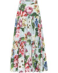 Dolce & Gabbana Jupe longue imprimée en coton - Multicolore