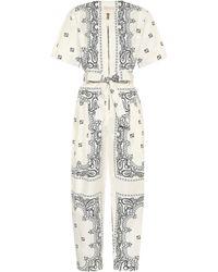 Tory Burch Combi-pantalon imprimée en coton - Blanc