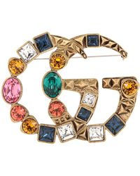Gucci Double G Crystal-embellished Brooch - Multicolour