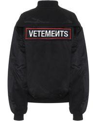 Vetements Police Cotton-twill Bomber Jacket - Black