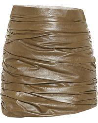 Zeynep Arcay Leather Miniskirt - Green