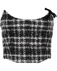 Alessandra Rich Checked Mohair, Wool And Cotton-blend Tweed Bustier - Multicolour