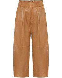 Vince Pantalones de piel anchos cropped - Marrón