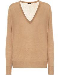 JOSEPH Cashair Cashmere V-neck Sweater - Natural