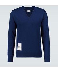 Maison Margiela Recycled Knit V-neck Sweater - Blue