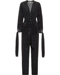 Stella McCartney Combi-pantalon Kiera en soie imprimée - Noir