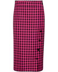 Balenciaga Checked Pencil Skirt - Pink