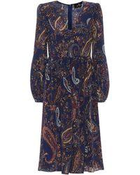 Etro Vestido midi de seda print paisley - Azul