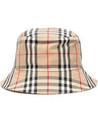 Burberry Karierter Hut mit Baumwollanteil - Natur