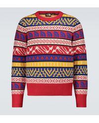 The North Face Pull Brown Label en jacquard de laine - Rouge