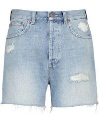 Gucci High-Rise Jeansshorts - Blau
