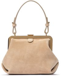 Khaite Agnes Small Suede Shoulder Bag - Natural