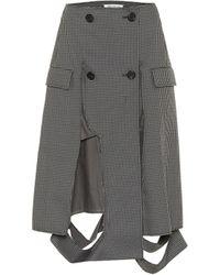 Maison Margiela Deconstructed Houndstooth Midi Skirt - Grey