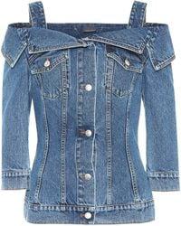 Alexander McQueen Off-the-shoulder Denim Jacket - Blue