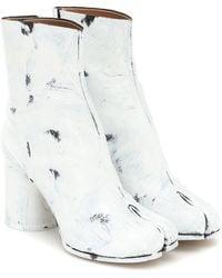 Maison Margiela Tabi Painted Leather Ankle Boots - White