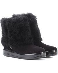 Prada - Fur-trimmed Suede Boots - Lyst