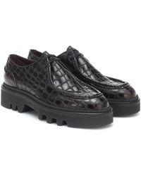 Dries Van Noten Croc-effect Leather Derby Shoes - Brown