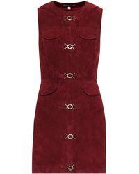 ALEXACHUNG Suede Mini Dress - Red
