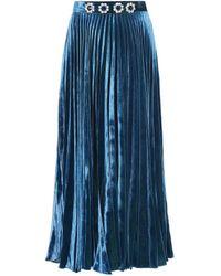 Christopher Kane Falda midi de satén con adornos - Azul