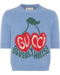 Gucci Top raccourci intarsia en laine - Bleu