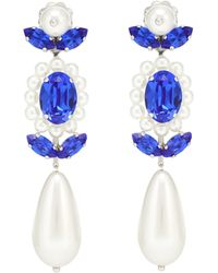 Simone Rocha Embellished Drop Earrings - Blue
