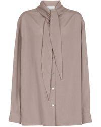 Lemaire Blusa de seda con lazada en el cuello - Rosa