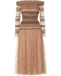 Self-Portrait Midi Dress With Spots - Natural