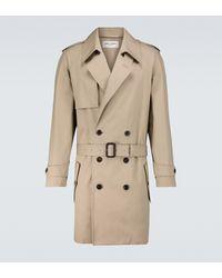 Saint Laurent Long Cotton Trench Coat - Natural