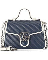 Gucci Sac à bandoulière GG Marmont Mini en cuir - Bleu