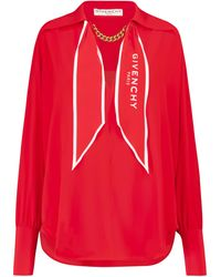 Givenchy - Chain-trimmed Silk Blouse - Lyst