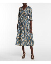 Max Mara Pesche Printed Cotton Midi Dress - Blue