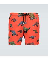 Vilebrequin Moorise Geo Turtle Swim Shorts - Orange