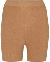 Live The Process Arch Ribbed-knit Shorts - Natural
