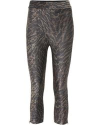 Ganni Tiger-print Lurex Jersey leggings - Gray