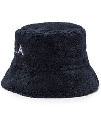 Prada Sombrero pescador de felpa con logotipo - Negro