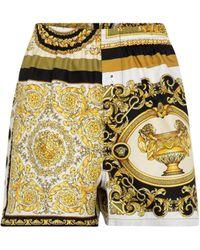 Versace Short Barocco Mosaic imprimé en soie - Multicolore