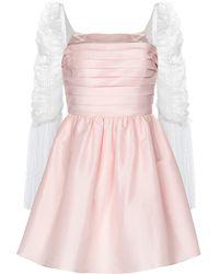 Self-Portrait Minikleid aus Taft und Point d'Esprit-Tüll - Pink