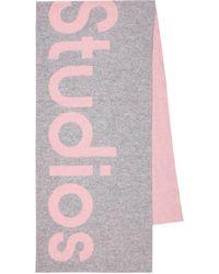 Acne Studios Bufanda en mezcla de lana con logo - Rosa