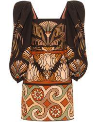 Johanna Ortiz Deluge Printed Cotton Minidress - Brown