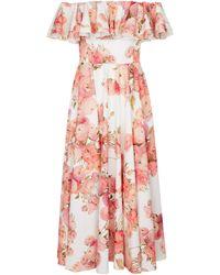 Giambattista Valli Floral Off-shoulder Cotton Midi Dress - Red